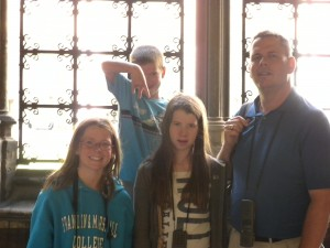 "The kids and Dad at the Cloisters in Westminster Abbey. The 6-year-old is saying ""Majide"" from ""I Survived a Japanese Game Show!"""