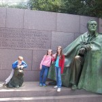 The kid, the preteen, and the teen at the Roosevelt Memorial